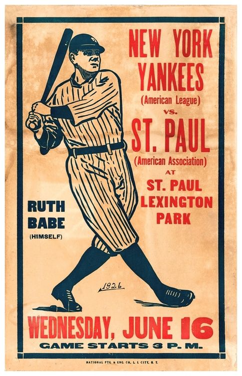 1926 New York Yankees vs. St. Paul Saints Exhibition Poster (88 Years Ago Today - Lexington Park, St. Paul, MN - June 16, 1926)