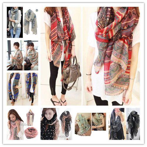 Women Soft Long Neck Large Scarf Wrap Shawl Pashmina Stole Scarve Chiffon Cotton…