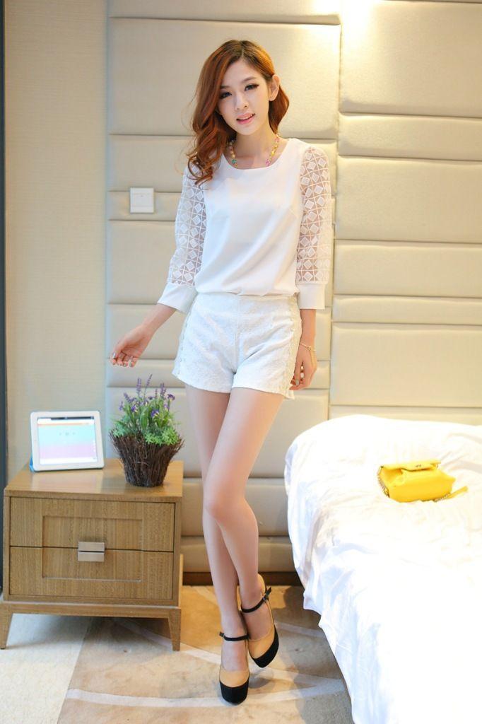 Además de talla s xxl top+shorts 2 color 2014 nuevo de la moda las mujeres ropa de trabajo cordón blusas de