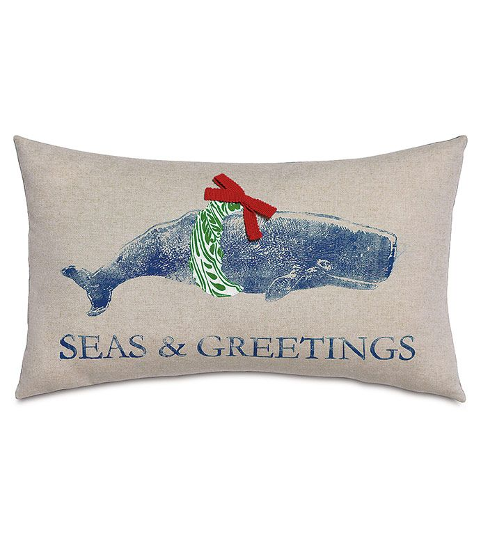 Merry Whale decorative pillow