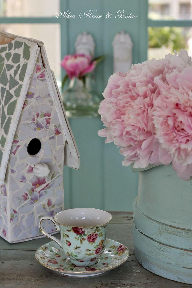 Aiken House & Gardens: Soft #Aqua #pink #peonies | Spring ...