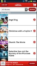 Redbook for Android.   Browse and reserve both movies and games, view trailers, plus find the nearest Redbox kiosk from wherever you are.