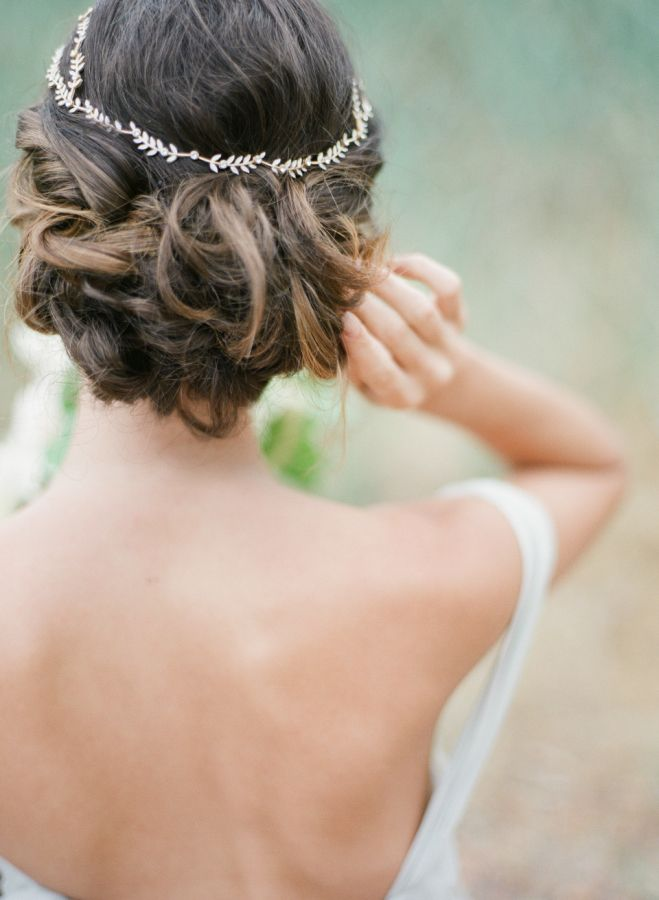 Twisted updo wedding hairstyle: http://www.stylemepretty.com/canada-weddings/british-columbia/vancouver/2015/11/06/ethereal-greek-goddess-inspired-wedding-editorial/ | Photography: Vasia - http://www.vasia-weddings.com/