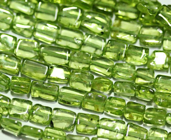 Peridot smooth rectangle beads by jewelsexports, $15.07