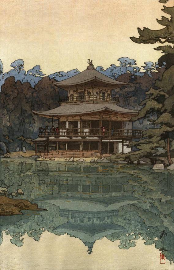 "Japanese Art Print ""Kinkakuji Temple"" by Yoshida Hiroshi, woodblock print reproduction, Kyoto, Japan"