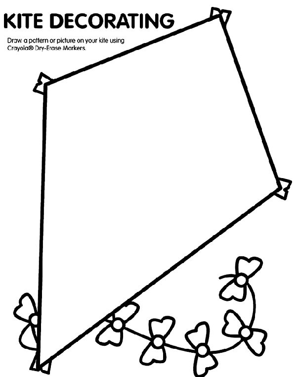 kite coloring page - Printable Preschool Crafts