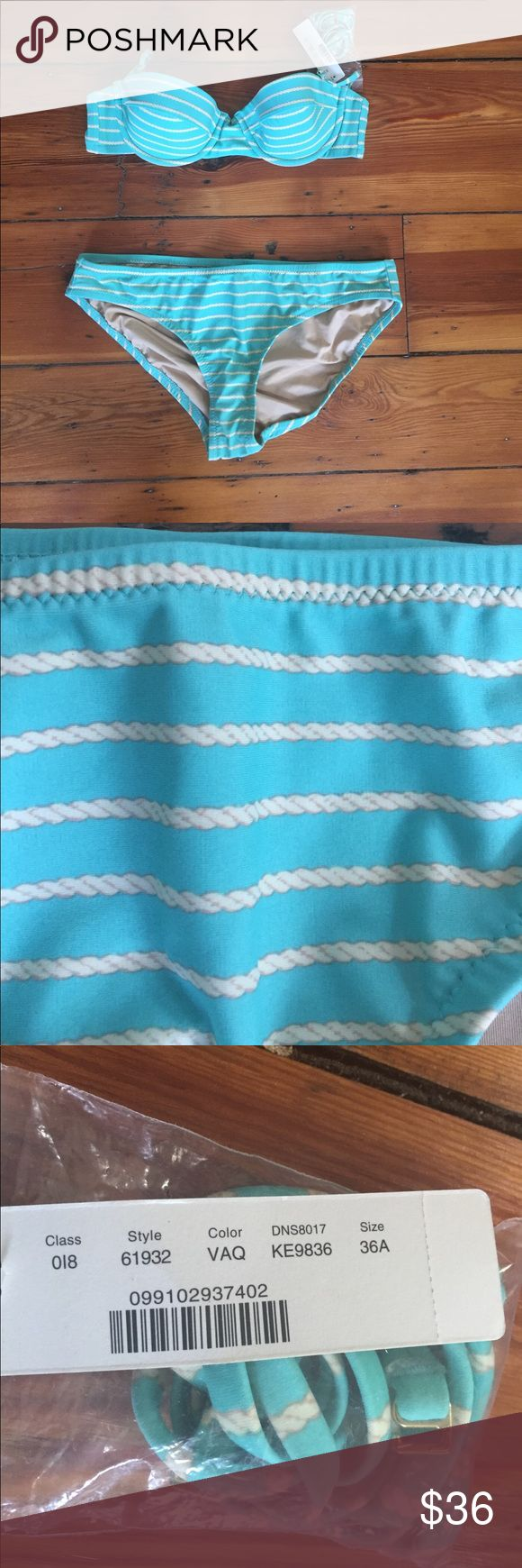 Super cute turquoise and cream bikini! NWT Turquoise bikini by J. Crew. Size 36A top and size M bottoms. Extra straps included. Hook closure in back. J. Crew Swim Bikinis