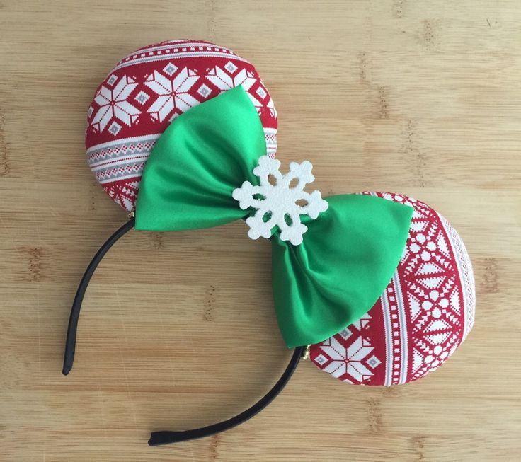 Christmas Minnie Ears, Christmas Party Ears, MVMCP Ears, Christmas Mouse Ears, Christmas Disney Ears, Christmas Ears, Holiday Ears by HappilyEarAfter on Etsy https://www.etsy.com/listing/471503126/christmas-minnie-ears-christmas-party