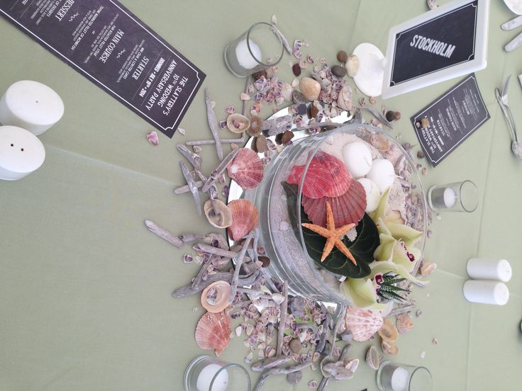 Beach theme table decor complete with starfish, sand, driftwood and shells. Visit www.gotchacovered.ie for more