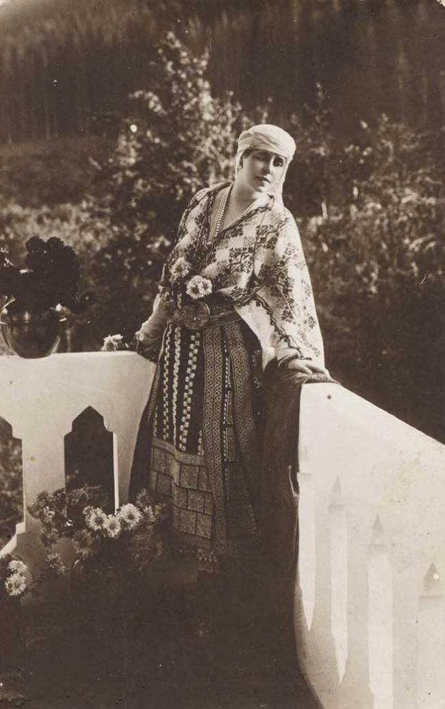 Queen Marie of Romania in traditional costume.
