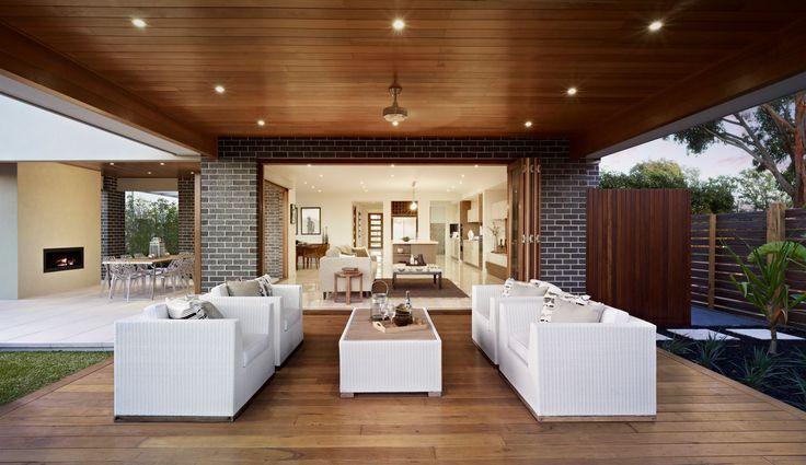 Outdoor undercover timber deck. Lighting. Outdoor living. Lifestyle. Modern. Deck. Flooring. Design. Unique. G.J. Gardner Homes. Australia.