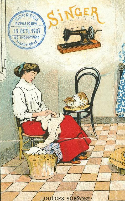 Vintage Spanish advertising poster for Singer sewing machine