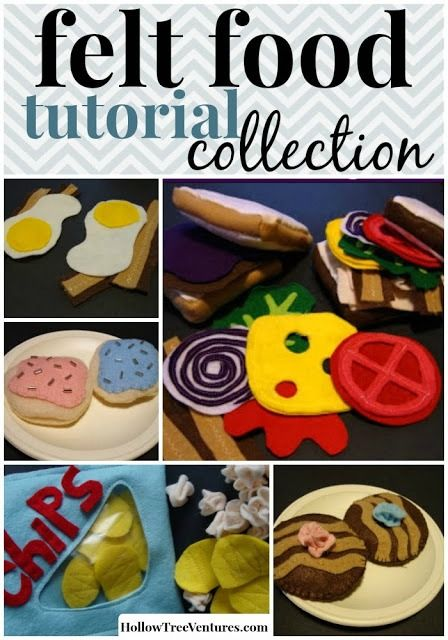 A compilation of easy, fun DIY felt food tutorials, including snacks, desserts, sandwiches and more! #sewing #kids