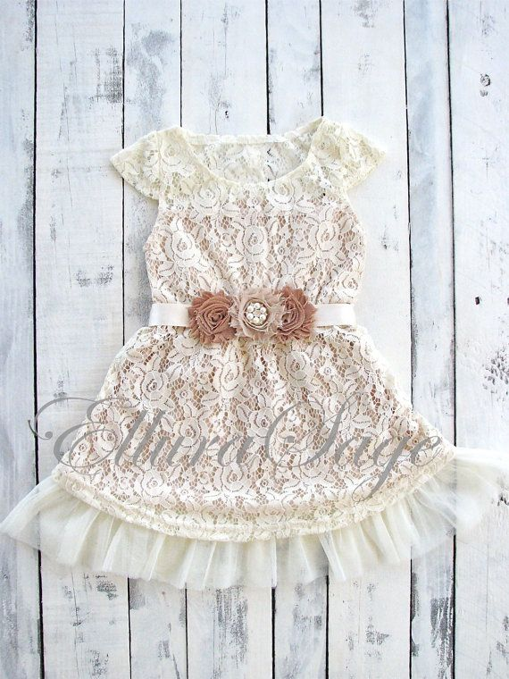 Lace Flower Girl dress Flower Girl Dresses Champagne by ElluraSage