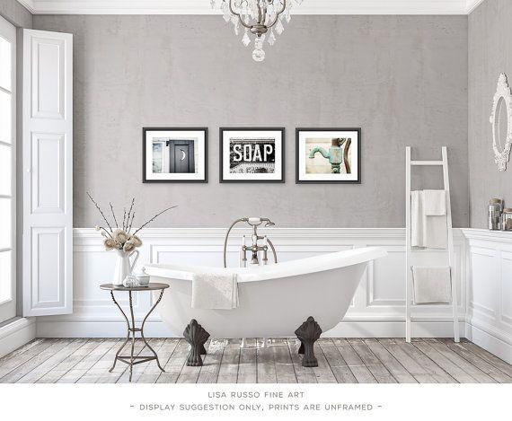 Bathroom Decor Set of 3 Photographs or Canvas Wraps, Bathroom Art Set, Rustic Bathroom Decor, Vintage Shabby Chic Bathroom Art, Bath Decor.