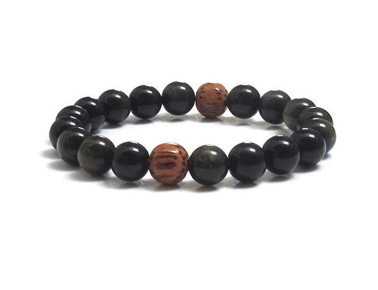 Obsidians Mala Bracelet with Coconut Palm Wood Beads