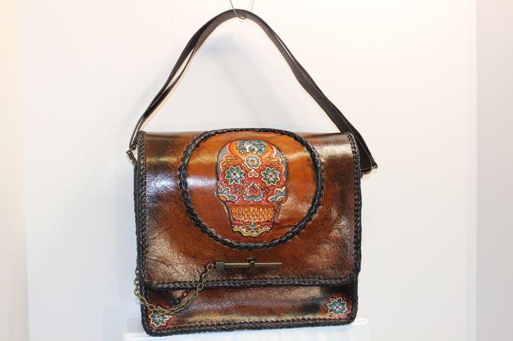 Sugar skull hand tooled leather