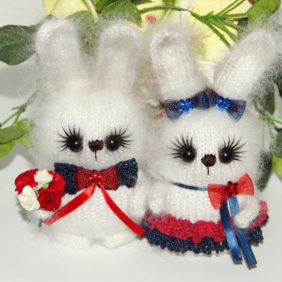 White bunnies set Easter bunny knitted rabbit hand knit bunny