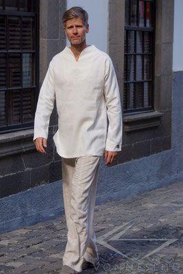 Luxus Leinen Tunika kurz Baum des Lebens oder  Blume des Lebens Leinen Hemd in creme - V O N N E S L H O