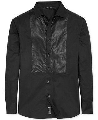 Sean John Big And Tall Faux Leather Trim Tuxedo Shirt