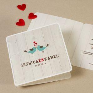 Vierkante trouwkaart met Love Birds | Tadaaz
