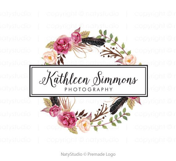 Logo de plume fleur logo premade photographes paquet par NatyStudio