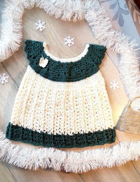 Crochet Dress White crochet dress Baby Dress  Baby Crochet
