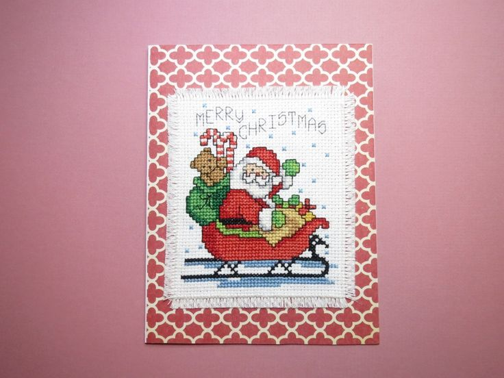 """SANTA IN SLED"" Finished Completed Cross Stitch 5 x 6.5 inch LARGE CARD FOR SALE • $7.50 • See Photos! Money Back Guarantee. ""SANTA IN SLED"" I Stitched this Sampler on 14 ct. white aida. It is taped onto a 5 X 6.5 inch card and placed into a ""Superior quality Crystal Clear 263055261234"
