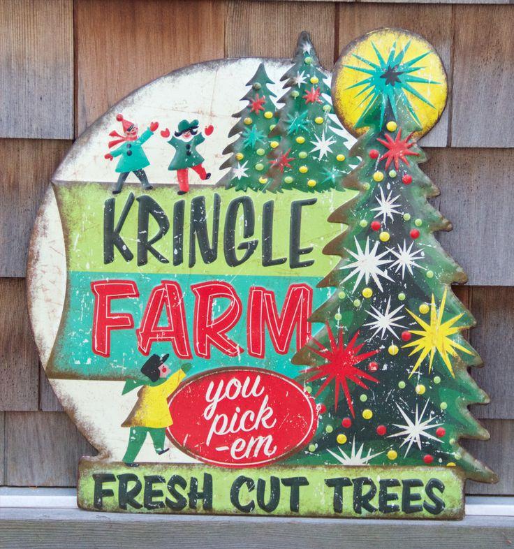 Kringle Tree Farm - Retro Christmas Tin Sign from The Holiday Barn