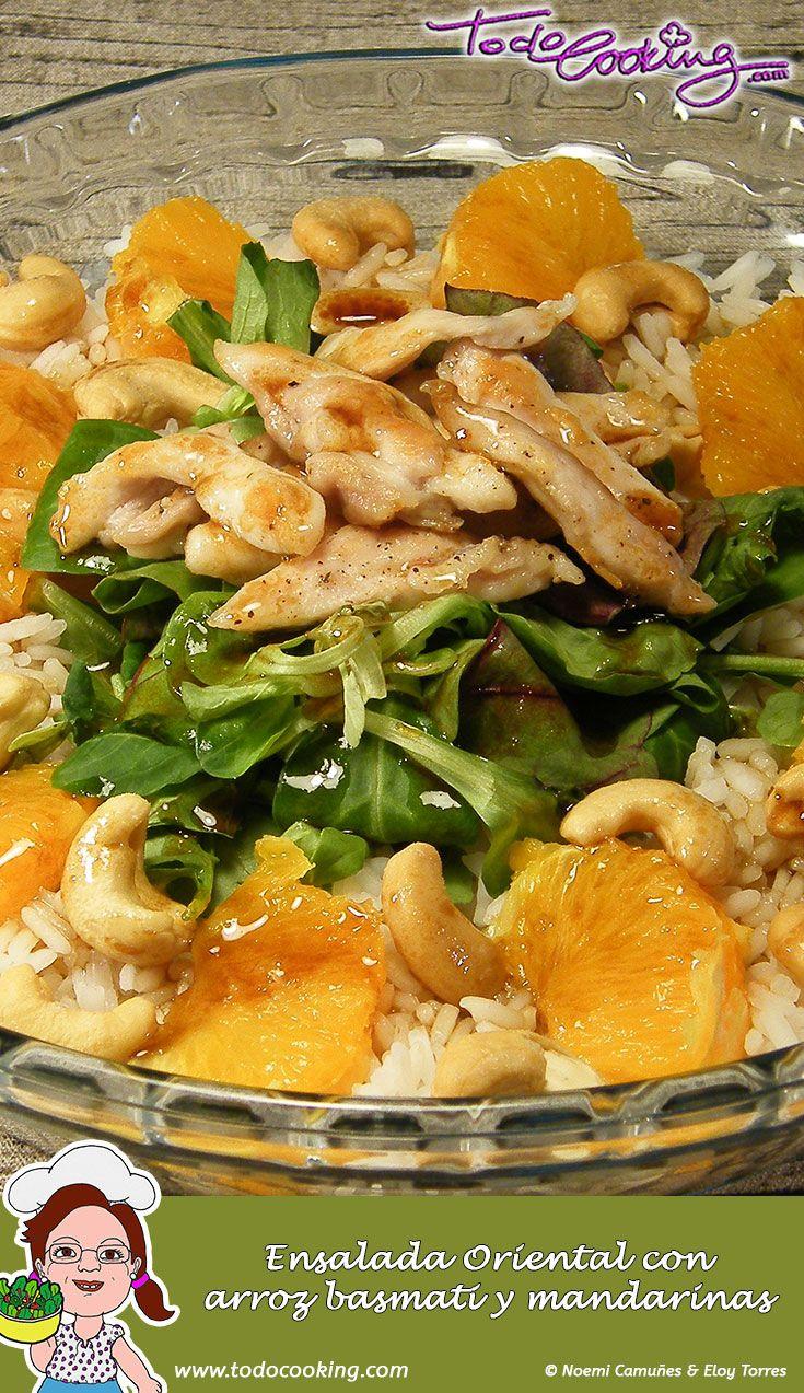 Con un ligero toque oriental, esta ensalada con arroz basmati y mandarina te sorprenderá gratamente. #receta #arroz #basmati