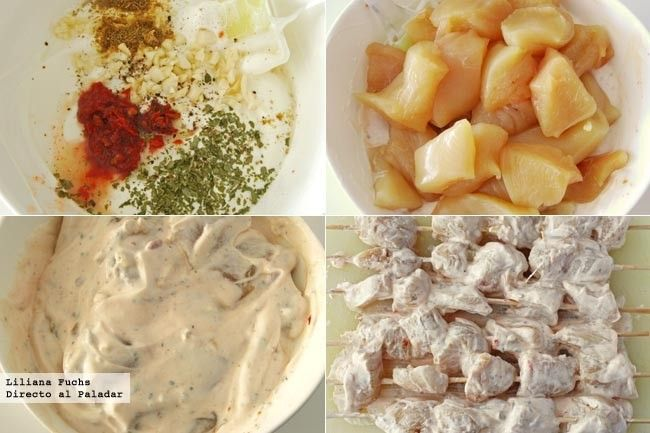 Brochetas de pollo marinado con yogur y harissa. Pasos