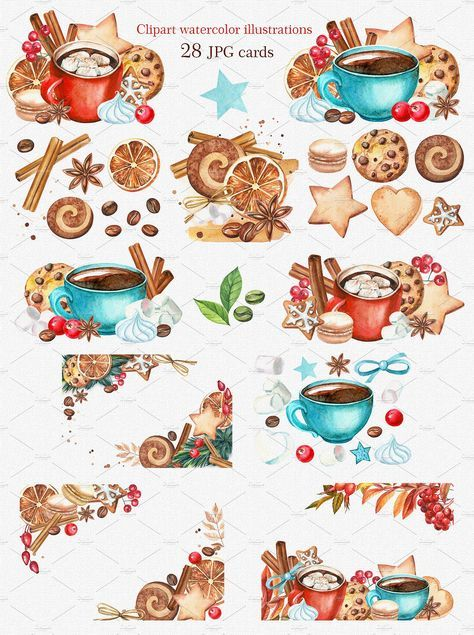 Christmas sweets clipart watercolor - Illustrations - 3