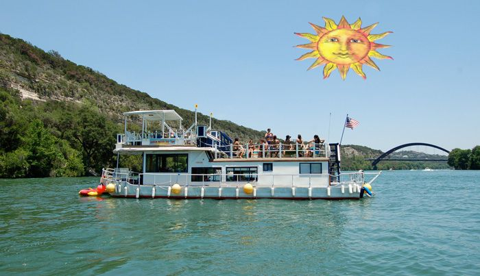 Sunshine Machine Boat Tours - Party Boat - Lake Austin, Texas. Best priced boat I've found for up to 30 people. Bring your own food & drink.