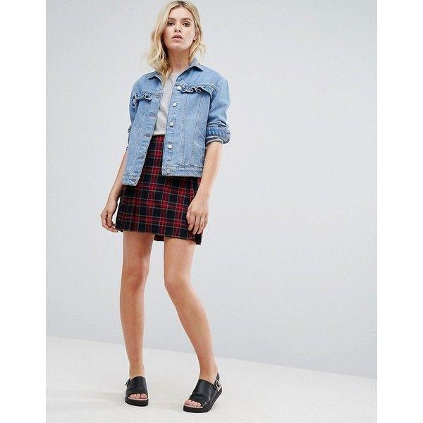Pepe Jeans Tartan Pleated Mini Skirt (£47) ❤ liked on Polyvore featuring skirts, mini skirts, red, plaid skirt, plaid mini skirt, short plaid skirt, red mini skirt and pleated mini skirt