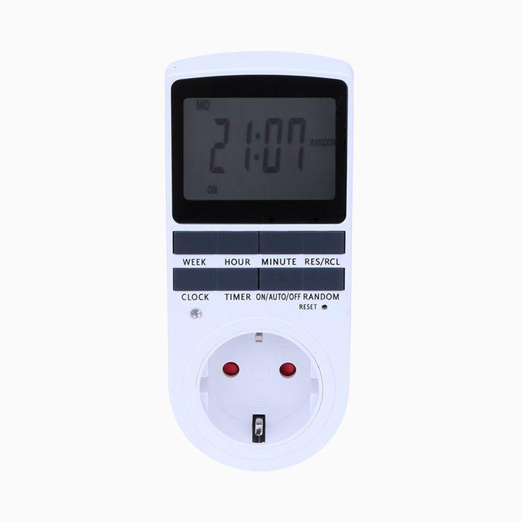 EU Plug Portátil Plug-in Temporizador 24 h Semana sete dias com Display LCD Digital para o Aparelho Interior Luzes/TV/PC/Fãs/Cozinha