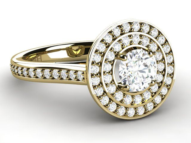 Halo Diamond 0.95 ct Ring with Side Accents 18K Yellow Gold - Paul Jewelry