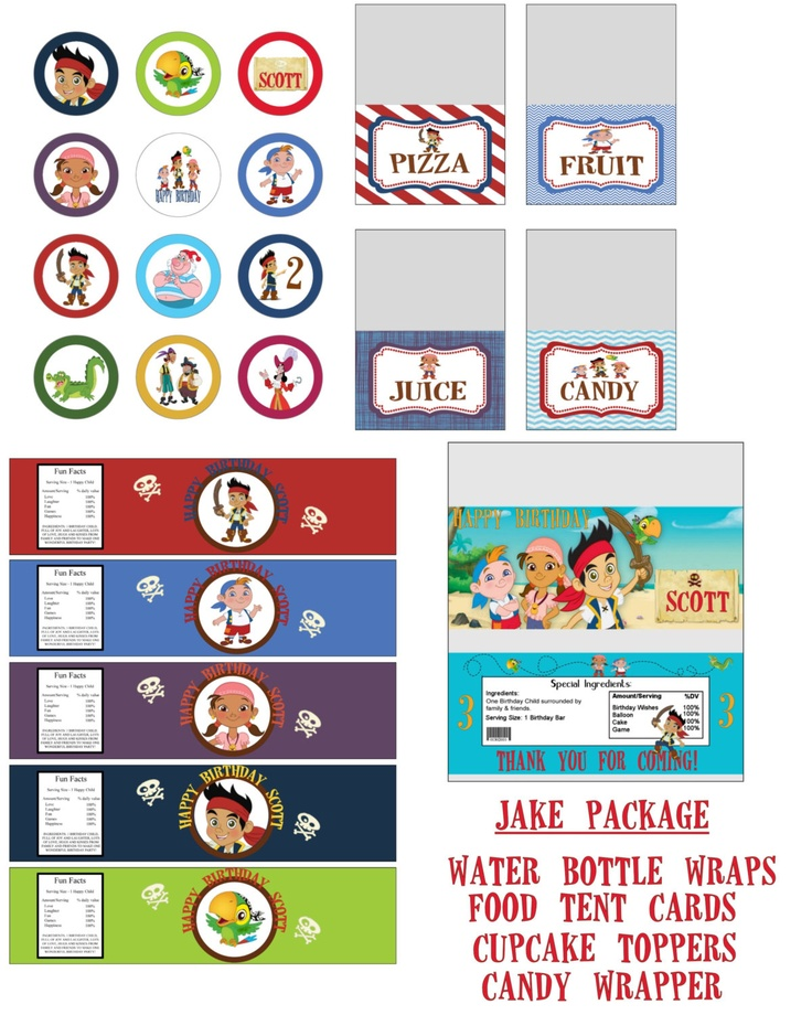 Disney Jake and the Neverland Pirates Birthday Party Printable Lot Favors and More. $15.00, via Etsy.