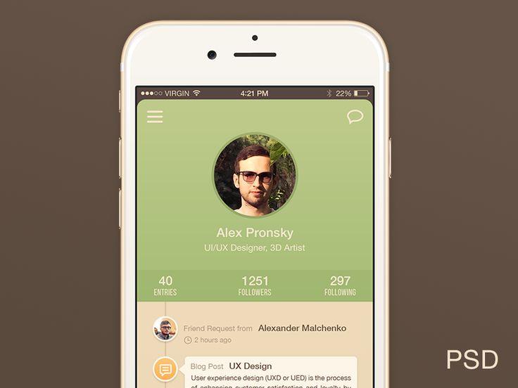 User Profile iPhone 6 App UI Freebie PSD