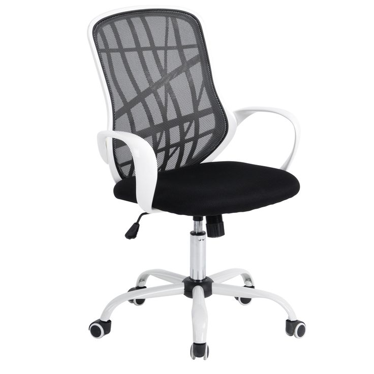 Aingoo White Base Office Chair with  Arms Office Computer Chair Breathable Mesh One Height Adjustable Office Boss Chair