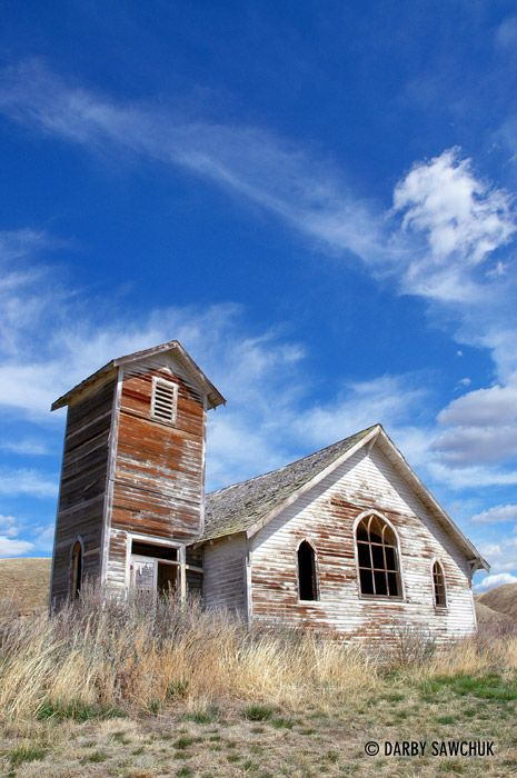 A small church in the village of Dorothy, Alberta, Canada.