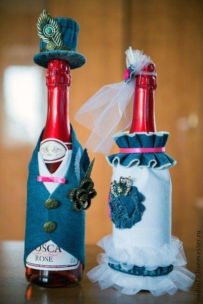 Стильный джинсовый декор шампанского. Handmade.