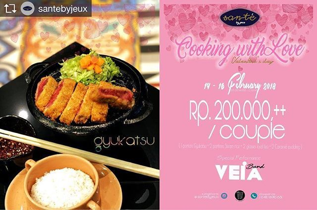 Repost from @santebyjeux @TopRankRepost #TopRankRepost Valentine's Day is coming.  Save the date & Celebrate your special moment with the special one  @SantebyJeux  With only IDR 200.000 get  1 portion Gyukatsu  2 portions Steam Rice  2 glasses Iced Tea and  2 Caramel Pudding  for 2 persons.  Promo is valid from 14-16 February 2018!  Special performance  VEiA BAND  Booked your table & make the memorable Valentine's Day with us.  info & reservation : ( 0411 ) 8910 631  Have a lovely day…