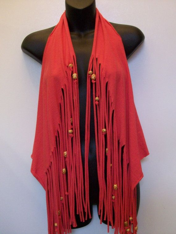 Coral shirt, vest, hippie boho top, festival wear, fringe, summer cover up