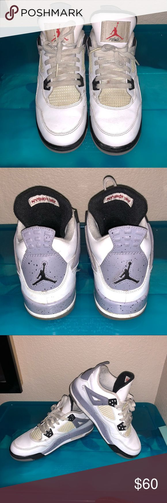 "Retro Jordan 4s Size 6.5Y Retro Jordan 4s ""Cool Grey"" Size 6.5Y (8W). Used. White leather. Slight yellowing on netting (can be restored with anti-yellowing shoe solution) Air Jordan Shoes Athletic Shoes"