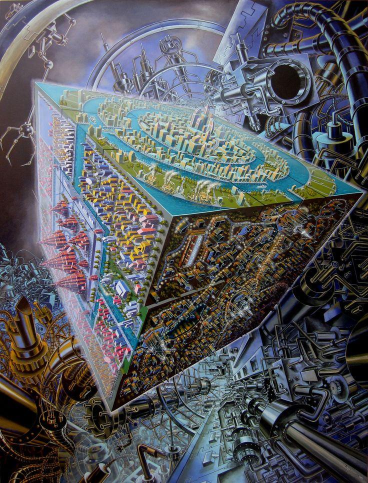 "Tri Wahana, - ""Civilization"", - Acrylic on canvas, -  180 x 135cm, - 2012"