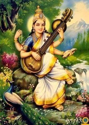 Sarasvati, deusa dos rios, das artes, dos escritos, do conhecimento e da criatividade. Diz a lenda que ela era rival de Lakshimi, a Deusa da riqueza. Assim, uma pessoa não podia ser abençoada pelas duas deusas, ou seja, não podia ter o talento e a prosperidade