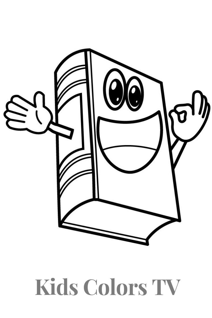 How To Draw A Cartoon Book Easy Book Drawing And Coloring Pages For Kids With Learns Colors Coloring Book Pages Coloring Pages For Kids Book Drawing