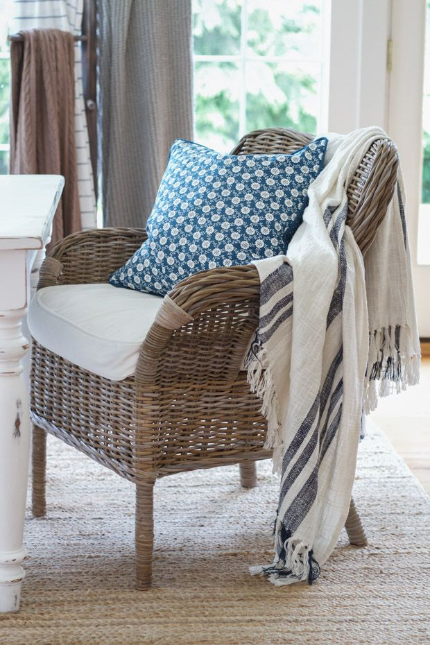 Summer home tour featuring farmhouse style and pops of blue accents throughout.