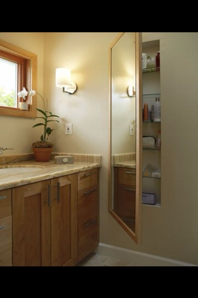 Lastest  Style Of Narrow Bathroom Cabinet Between Mirrors And Wall Lamps