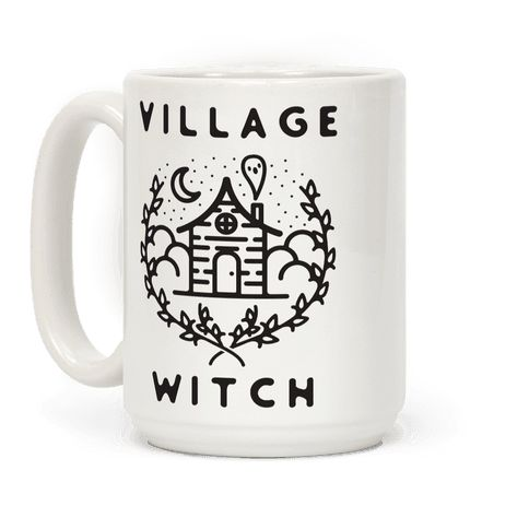 "Village Witch - Are you a witchy women handing out spells and talisman to the locals? Then this design is for you. This witchcraft inspired design features an illustration of a spooky house with a ghost coming out of the chimney along with the phase ""Village Witch."""
